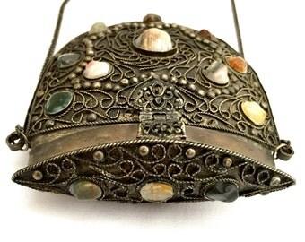 Vintage Sajai Silver Metal Purse Semi Precious Stones India