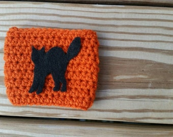 Halloween coffee cozy with black cat*Ready to ship the next business day*