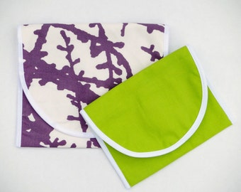 Reusable Snack Bags, Organic Sandwich Bag Set, Cotton Lunchbag, Toddler Snack Pouch, Funky Purple Handprinted Fabric