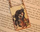 Krampus necklace creature folklore Santa mixed media jewelry