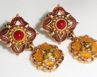 Gold Tone Brown Yellow Green Pierced Enamel Dangle Drop Earrings