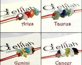 Zodiac Bracelet Minimalist Stone Bracelet String Horoscope Bracelet with Chips Birthstone Bracelet Zodiac Sign Bracelet Red Thread Bracelet