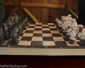 Rustic Log Chess Set Natural Waldorf Barnwood Game