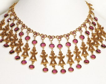 Goldette Egyptian Purple Crystal Rhinestone Necklace Earring Set
