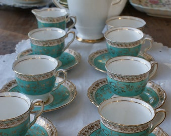 15 piece Royal Stafford vintage china demi tasse coffee set