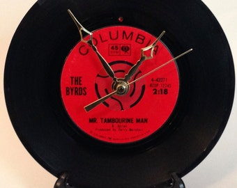 """Recycled THE BYRDS 7"""" Record / Mr. Tambourine Man / Record Clock"""