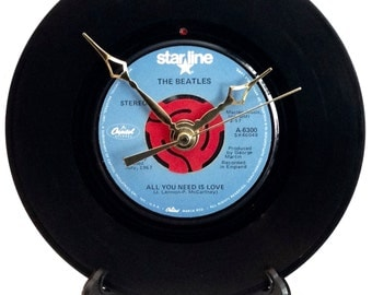 "Recycled BEATLES 7"" Record / All You Need Is Love / Record Clock"