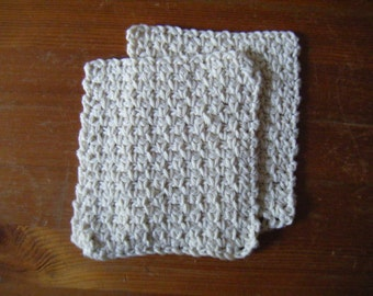 Set of 2 Cotton Crochet Wash Cloths Flannels - Made to Order