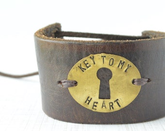 Key To My Heart Antique Key Repurposed Leather Bracelet