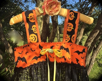 Charming Boho Deva Witch Dress Black Lace Overlay Bats Pumpkins and Bow Cute Witch