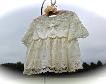 Cottage  Vintage Style Lacey Shrug/Jacket Boho  Babydoll OOAK Feminine Plus Size 14
