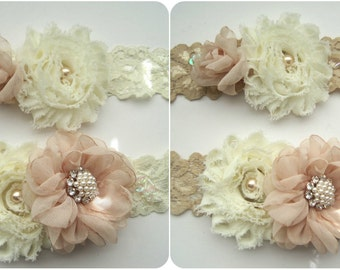 """Gorgeous Ivory or Champagne Beaded 1 1/2"""" Stretch Lace Bridal Wedding Garter Set in Champagne and Ivory with Pearl and Rhinestone Accents"""