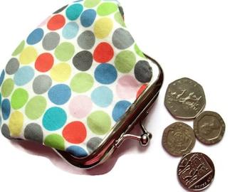Polka Dot Fabric Change Purse - Small Coin Purse - Change Wallet - Framed Coin Purse - Money Wallet