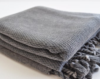 Turkish Towel Peshtemal towel stone wsahes Cotton Peshtemal towel wafle pattern in dark grey