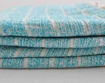 Turkish Towel Bamboo Peshtemal Towel Sprinkled Peshtemal in Turquoise Color Pure Soft, genuine handloomed