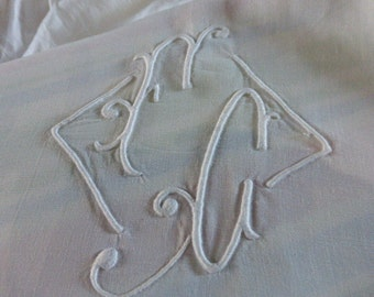 Antique Sheet, Superb Pure Linen, Fine Fil Linen French,  MONOGRAMMED. F.G.