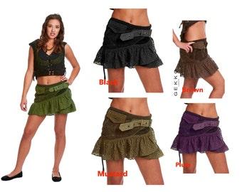 PIXIE skirt, ASSORTED COLOURS - psytrance skirt, elf skirt, ethnic skirt, goa Skirt, wrap Skirt, Pixie Mini Skirt, Gposkma