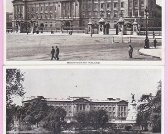 "Pair Ca. 1920s ""Buckingham Palace"" in London, England, UK Topographical Picture Postcards - 438"