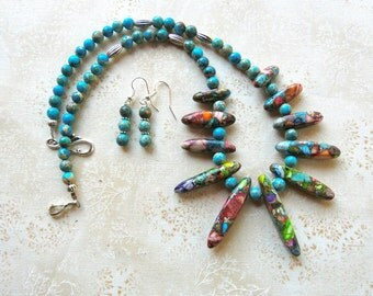 19 Inch Turquoise and Multi Colored Sea Sediment Jasper Stick Beads Necklace with Earrings