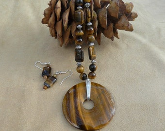 22 Inch Tiger's Eye Necklace with Large Donut Pendant and Earrings