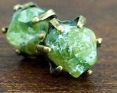 NATURAL GEMSTONE & BRONZE Prong Studs 8mm - Pick your favorite gemstone