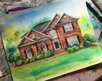 CUSTOM House Painting | Watercolor | Small Sizes