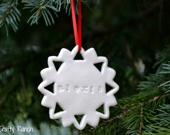 Personalized Cutout Snowflake Ornament - Polymer Clay