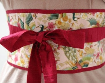Merlot red Dupioni silk - Obi Belt - Japanese belt - Figure slimmer - reversible Cherry Blossoms and peacocks: light peach/gold metallic