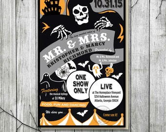 Vintage Halloween Poster Invitation, Halloween Wedding Invite, Halloween Playbill, Printable Halloween Poster, Halloween Party, Reception