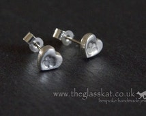 Silver Pawprints On Your Heart stud earrings - made to order