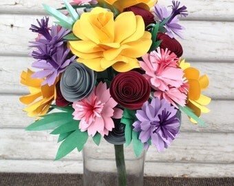 Paper flower bouquet - Mixed flowers, colorful bouquet, spring flowers, birthday gift, forever gift, bridal party, bridesmaid, wildflowers