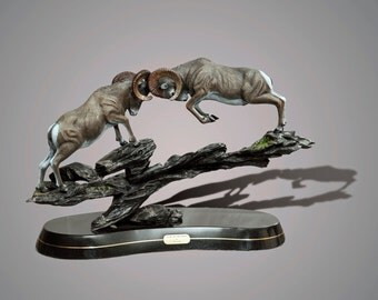 """Bronze Ram Sheep Figurine Sculpture """"Clap Of Thunder"""" Art Limited Edition Signed and Numbered by Barry Stein"""