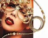 Eyewear holder, Gold metallic lustre and gold beaded eyeglass holder, glasses chain, sunglasses holder, reading glasses jewelry, handmade