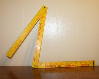 Vintage Yellow Folding Ruler,folding ruler,flexible ruler,expandable ruler,restaurant decor,vintage ruler,wood ruler,vintage wood ruler
