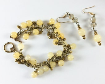 Yellow Jade Bracelet with Earrings Vintage Jewelry, CHRISTMAS SALE