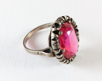 Art Deco Ring, Pink Glass Ring, European Silver, Vintage Jewelry, WINTER SALE