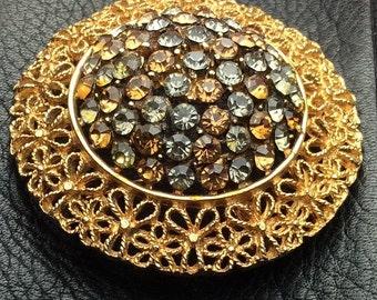 Topaz Rhinestone Brooch signed Karu Vintage Jewelry, Gift for Her SUMMER SALE
