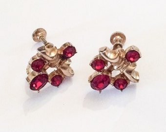Red Rhinestone Screwback Earrings, 1940s Vintage Jewelry, Gift for Her SALE