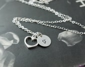 Floating heart, dainty necklace, simple jewelry, personalized necklace, heart pendant, initial pendant