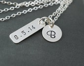 Date necklace, Wedding date necklace, Special numbers necklace, Initial necklace, Keepsake jewelry