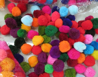 100- 35mm, pom pom , about 1.5 inches, or 35mm, mixed colors, handmade cotton  pompom, Beautiful Mixed Colours