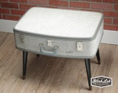 Travel Suitcase Table, Repurposed Luggage, Upcycled, Black Tapered Leg with metal tip, Mid Century, 1950s, Gray & Black, Shabby Chic, Retro
