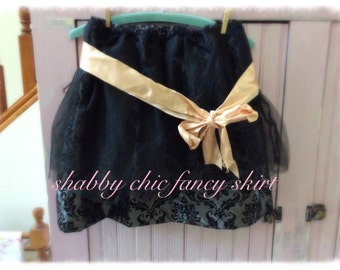 Sweet Shabby Chic Fancy Skirt Womens Clothing MEDIUM Flocked Satin Vintage Sash Boho Romantic Party Cocktail Christmas