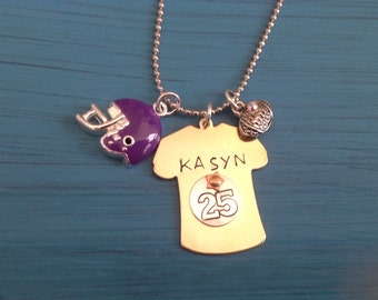Football Jersey, football mom custom Necklace, Gold or Silver with Team Color HeLmet