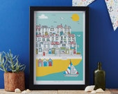 Summer by the Sea Art Print - coastal art print - matted print - ready to frame art print - ready to frame print by Jessica Hogarth