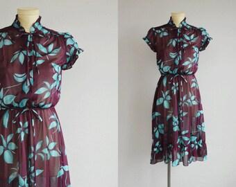 Vintage 70s Dress / 1970s Sheer Floral Ruffled Dress / Purple Plum Turquoise Hawaiian Print