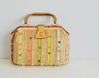 Vintage 60s Gary Gail Wicker Handbag / 1960s Rhinestone Beaded Natural Woven Basket Bag with Amber Lucite Handles and Rick Rack Trim