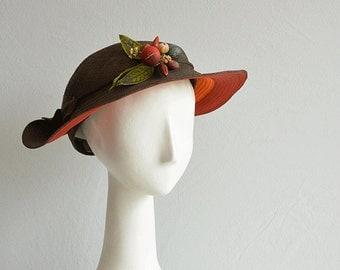 Vintage 40s Hat / 1940s Brown Wide Brim Straw Novelty Hat with Fruit / Harvest Hat