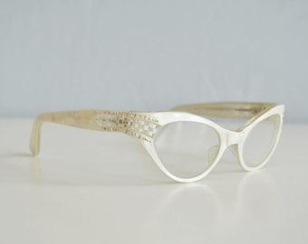 Vintage 50s Rhinestone Eyeglasses / 1950s White Pearl Eyewear Cat Eye Frames / Frame France