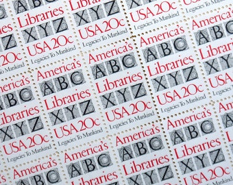25 pieces - 1982 20 cent America's Libraries - Vintage unused stamps - great for invitations, gift for librarian